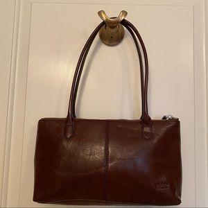 HOBO INTERNATIONAL BAG SHOULDER BROWN LEATHER ZIP